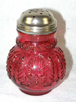 Antique Northwood Glass Sugar Shaker - Cranberry Leaf Umbrella