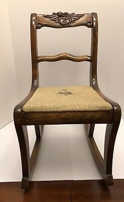 Antique Miniature / Small Child's Wooden Hand Carved Rocking Chair 1938