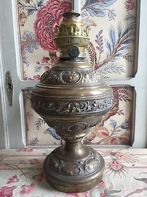 Parisian Antique French Ormulu Brass Repousse French Oil Lamp Floral Decor C1880