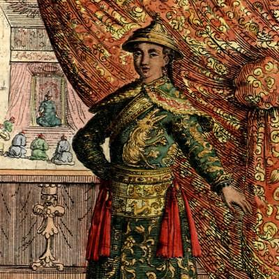 China Tartary King Chinese 1683 old Mallet ethnic costume print fine hand color