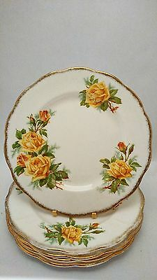 "Royal Albert Yellow Tea Rose Set of FIVE 8 1/8"" Salad Plates"