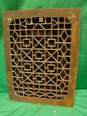 Antique Late 1800's Cast Iron Heating Grate Unique Ornate Design 16 X 12  Dg
