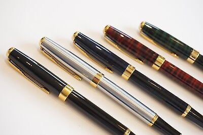 5x Baoer #388 Fountain Pens Set Gold Trim M Nib Black Steel Red Green Blue - UK!