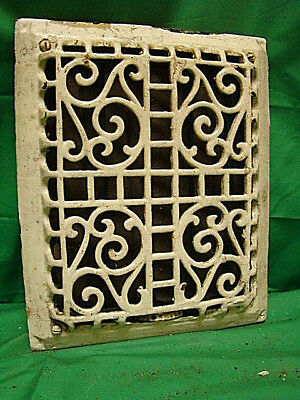 "ANTIQUE LATE 1800'S CAST IRON HEATING GRATE ORNATE DESIGN 11.5 x 9.5""  b"