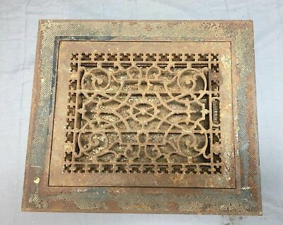 Large Antique Cast Iron Heat Grate Vent Register with Surround 16x19 Old 28-18J