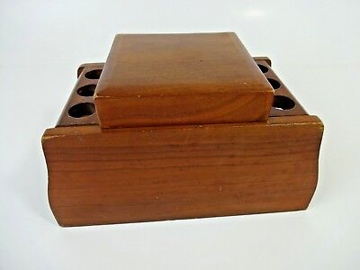 Vintage MCM - Decatur ? Wood Humidor w/ 6 Pipe Rack And Tobacco Humidor Chamber