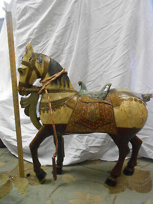 "Antique Hand Carved Painted Arabian/Asian Horse Approx 30"" x 27"""