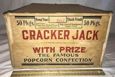 Antique Cracker Jack Popcorn Peanut Candy Country Store Display Shipping Box Old