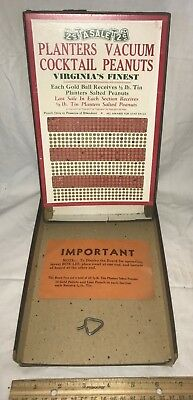 Antique Planters Peanut Punch Board Gambling Game Win Tin Salted Cocktail Nuts