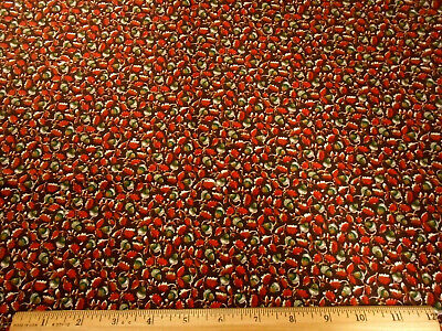 """Cotton Quilting Fabric #1500 /""""Little Leaf/"""" Rusty Red By The Yard"""