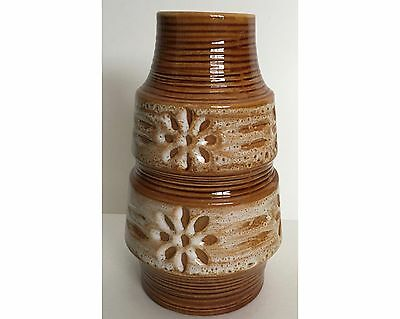 Mid Century Modern Spara 580-20 West German Pottery White Brown Vase