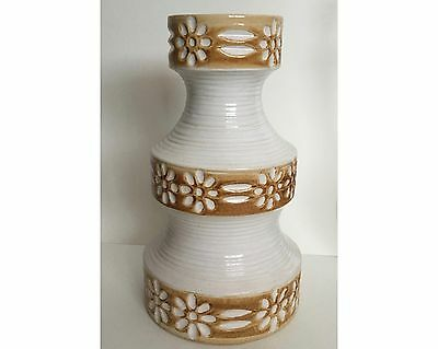 Mid Century Modern Spara 581-25 West German Pottery White Brown Vase