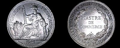 1921-H French Indo-China 1 Piastre World Silver Coin - Vietnam