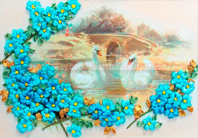 Swans and Forget-Me-Not ribbon embroidery DIY kit wall hanging room decor