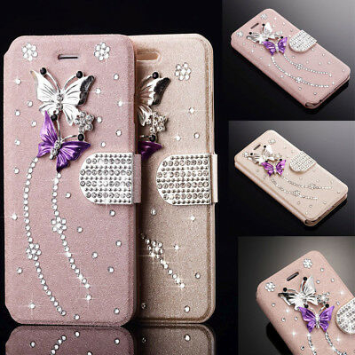 Bling Glitter Diamond Leather Wallet Flip Case Cover For iPhone Samsung Galaxy