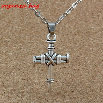 3pcs Ancient silver Alloy nail cross Charms Pendant Necklaces 20 inches Chains