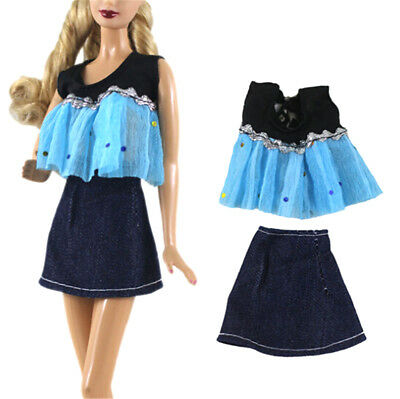 2Pcs Fashion Handmade Doll Dress Clothes for Barbie Doll Party Daily Clothes JR