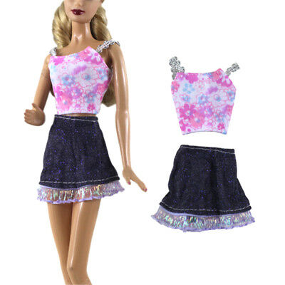 2Pcs Handmade Fashion Doll Clothes Dress for Barbie Doll Party Daily Clothes JR