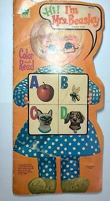 RARE  Hi! I'm Mrs. Beasley ! Color and Read book Whitman 1972