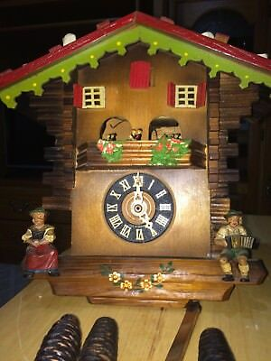 Vintage Cuckoo Clock German Black Forest, Musical Chalet