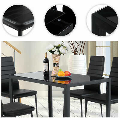 5104c5bd2a98c New Dining Table Set Jiugongge Table 4 Chairs Glass Metal Kitchen Room  Furniture