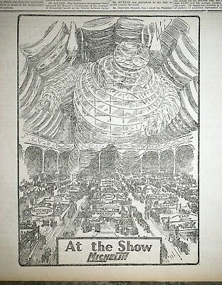 1911 London Times Newspaper Ad - Michelin at The British International Auto Show