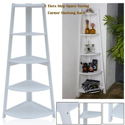 White 5 Tier Corner Shelf Unit Bathroom Storage Bookcase Display Stand 137cm Sy