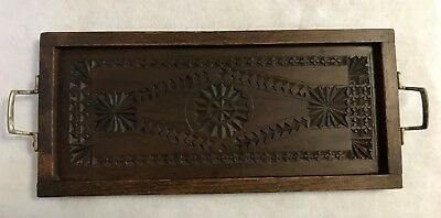 Antique Handcarved - Chip Carved Wooden Tray