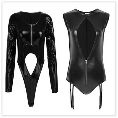 Sexy Damen Catsuit Wetlook Overall Zipper Bodysuit Kostüm Stringbody Reizwäsche