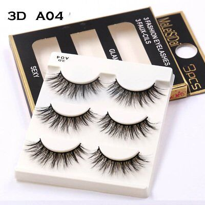 Wholesale 3 Pairs Makeup Natural Handmade 3D False Eyelashes Soft Bushy Eye Lash