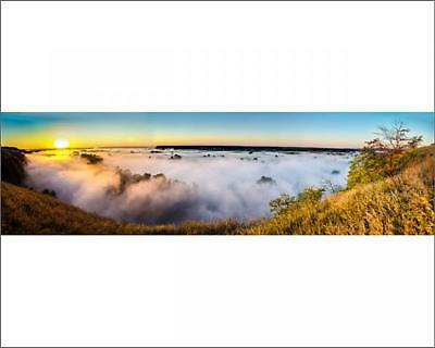"14733855 10""x8"" (25x20cm) Print Misty dawn over hills and river,..."