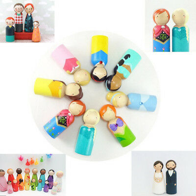 12PCS Unfinished Wood Peg Doll People Bodies Wooden Family DIY Crafts Topper
