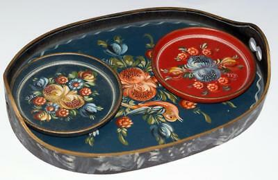 Hinderloopen Art Dutch Small Flower Painted Tray and Coasters Signed