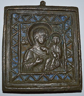 Russian Orthodox Bronze Icon Plaque 18th Century - Smolensk Virgin Hodegetria