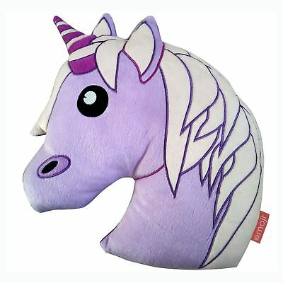 Emoji Unicorn Embroidered Cushion Purple Girls Kids 100% Official