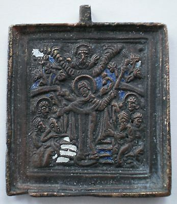 Russian Orthodox Bronze Icon Plaque 18th Century - Sorrow Mother of God