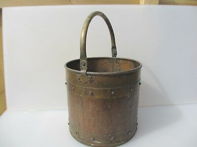 Antique Copper Coal Bucket Planter Tub Pot Brass Straps Log Basket Victorian Old