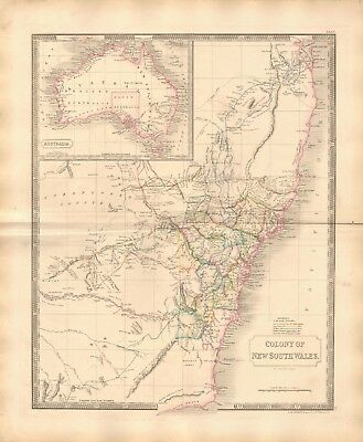 1843 Large Victorian Map- Sidney Hall- Colony of New South Wales, inset of Austr