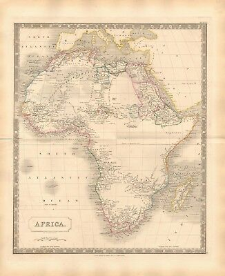 1843 Large Victorian Map- Sidney Hall- Africa