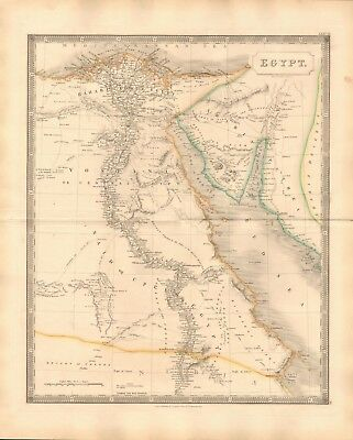 1843 Large Victorian Map- Sidney Hall- Egypt