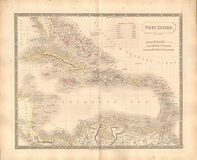 1843 Large Victorian Map- Sidney Hall- West Indies, European possessions marked