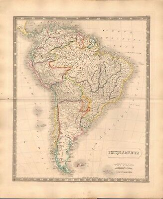 1843 Large Victorian Map- Sidney Hall- South America