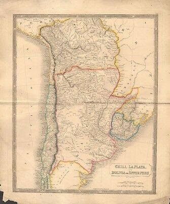 1843 Large Victorian Map- Sidney Hall- Chile, La Plata and Bolivia, or Upper Per