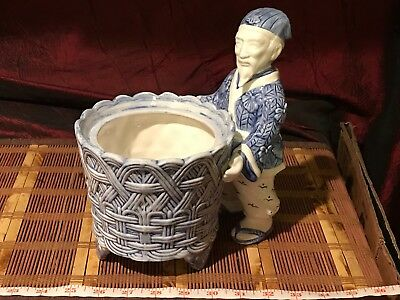 """Asian Ceramic Blue & White Footed Weave Planter w/ Attached Male Figurine 9 1/2"""""""