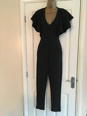 1665a9be5a8 BNWT BOOHOO LADIES Black Frill Sleeve Jumpsuit Size 10 -  24.86 ...