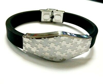 Puzzle Piece Autism Awareness 316 Stainless Steel Silicone Wristband Bracelet