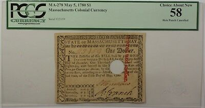 May 5 1780 $1 Massachusetts Colonial Currency Note PCGS About New 58 MA-278