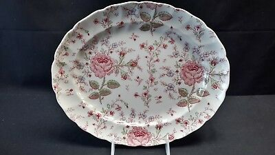 Johnson Brothers Rose Chintz Pink Oval Serving Platter