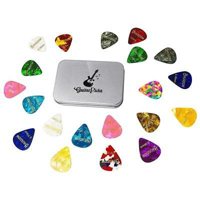 20 x Plectrum Guitar Picks Electric Bass Acoustic Case Pack Assorted Mix Box