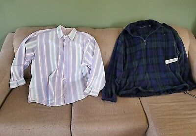 Mens XLarge clothes mixed lot of 2 fleece pull over & shirt